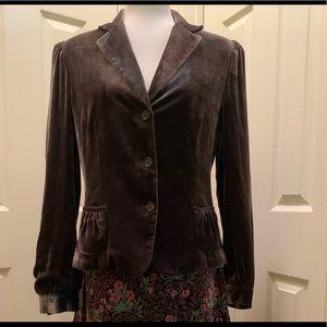 Tahari Velvet Button Up Jacket